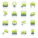 De groene pictogrammen van huistoestellen Royalty-vrije Stock Foto's