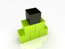 De groene piramide van kubussen Stock Foto's