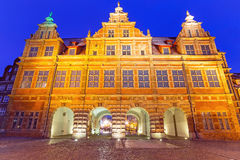 De Groene Poort bij nacht in Gdansk Stock Foto
