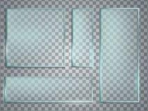 De groene realistische vectorreeks van de glasplaat Glastextuur met shado stock illustratie