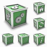 De groene reeks van het doospictogram Stock Afbeelding