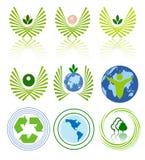 De groene reeks van het energiepictogram Stock Afbeeldingen