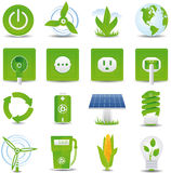De groene reeks van het energiepictogram Stock Afbeelding