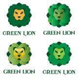 De groene reeks van het leeuwembleem stock illustratie