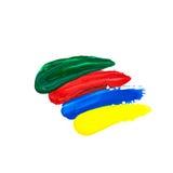 de groene, rode, blauwe, gele die borstel strijkt olieverf op wit wordt geïsoleerd stock fotografie