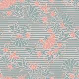 De groene Roze Bloemen op Strepen Naadloze Vector herhalen Patroon stock illustratie