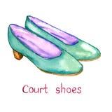 De groene schoenen van het leerhof Stock Fotografie