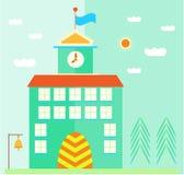 De groene, schoolbouw met vlag, klok, deuren Royalty-vrije Stock Afbeeldingen