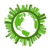 De groene Stadsgebouwen rond Cirkel en aarde brengen vectorontwerp in kaart Royalty-vrije Stock Foto
