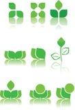 De groene steekproeven van het embleemontwerp Stock Foto's