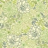 De groene succulente achtergrond van het installaties naadloze patroon Stock Fotografie