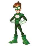 De groene Super Mascotte van het Beeldverhaal van de Held van de Jongen Royalty-vrije Stock Afbeelding