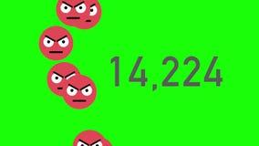 De groene Teller die van de het Schermclose-up van Unlikes met Boze Emojis worden geaccumuleerd vector illustratie