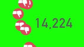 De groene Teller die van de het Schermclose-up van Unlikes met duim-Benedenpictogrammen worden geaccumuleerd stock illustratie