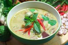 De groene Thaise keuken van de varkensvleeskerrie royalty-vrije stock foto's