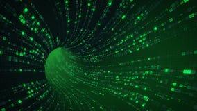 De groene tunnel sc.i-FI met digitale symbolen vat 3D samen teruggeeft Royalty-vrije Stock Afbeelding