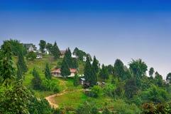 De groene vallei, de plattelandshuisjes blauwe hemel van de dorpsweg Royalty-vrije Stock Afbeelding