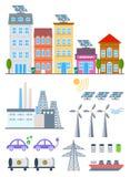 De groene vastgestelde elementen van Stadsinfographic Vectorillustratie met ecopictogrammen Milieu, ecologie infographic elemente Royalty-vrije Stock Afbeelding