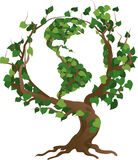 De groene vectorillustratie van de wereldboom Stock Afbeeldingen
