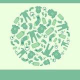 De groene vectorkaart van de babyaankondiging vector illustratie