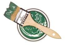 De groene Verf kan met borstel stock foto