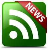 De groene vierkante knoop van het nieuwsrss pictogram Stock Afbeeldingen