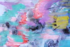 De groene violette donkere achtergrond van de waterverfpastelkleur Stock Fotografie