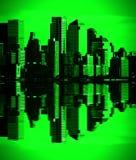 De groene visie New York van de nacht de stad in, nyc stock foto's