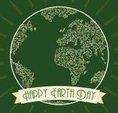 De groene Vlakke Affiche van de Aardedag, Vectorillustratie Stock Afbeelding