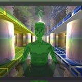 De groene vreemdeling is op het waterspoor Royalty-vrije Stock Afbeelding