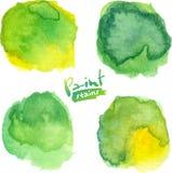 De groene waterverf schilderde vector geplaatste vlekken Stock Afbeeldingen