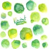 De groene waterverf schilderde vector geplaatste vlekken Royalty-vrije Stock Fotografie