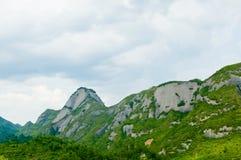 De groene Witte Wolk van de Berg Stock Afbeelding