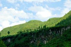 De groene Witte Wolk van de Berg Stock Foto