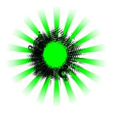 De groene zwarte achtergrond van grungestralen Stock Foto's