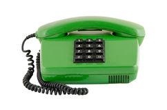 De groene zwarte die knopen van de huistelefoon op wit worden geïsoleerd Stock Afbeelding