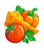 De groenten en de kaas van de tomatenpeper met peterselie Royalty-vrije Stock Foto's