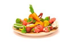 De groenten en de vruchten van de plasticine Stock Afbeelding