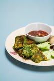 De groenten en Namprik Kapi van Tempura Royalty-vrije Stock Fotografie