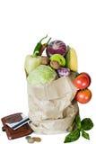 De groenten in het pakket isoleren de aankoop van de muntstukbeurs royalty-vrije stock afbeelding