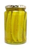 De Groenten in het zuur van de dille in een Kruik van het Glas stock afbeelding