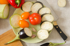 De groenten hoogste mening van de aubergine groene plaat Royalty-vrije Stock Afbeelding
