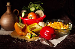 De groenten voor de salade Stock Foto's