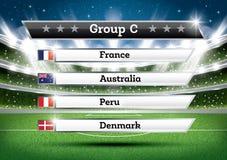 De groep C van het voetbalkampioenschap De toernooien van de voetbalwereld Trek Onderzoek vector illustratie