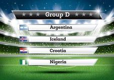 De groep D van het voetbalkampioenschap De toernooien van de voetbalwereld Trek Onderzoek vector illustratie
