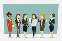 De groep die vrouwen in bureaukleren werken met status stelt Vecto stock fotografie