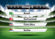 De groep E van het voetbalkampioenschap De toernooien van de voetbalwereld Trek Onderzoek royalty-vrije illustratie