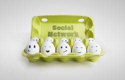 De groep eieren met het glimlachen ziet representin onder ogen stock afbeeldingen