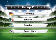 De groep F van het voetbalkampioenschap De toernooien van de voetbalwereld Trek Onderzoek stock illustratie
