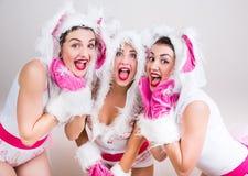 De groep gelukkige meisjes kleedde zich in konijnkostuums Stock Foto